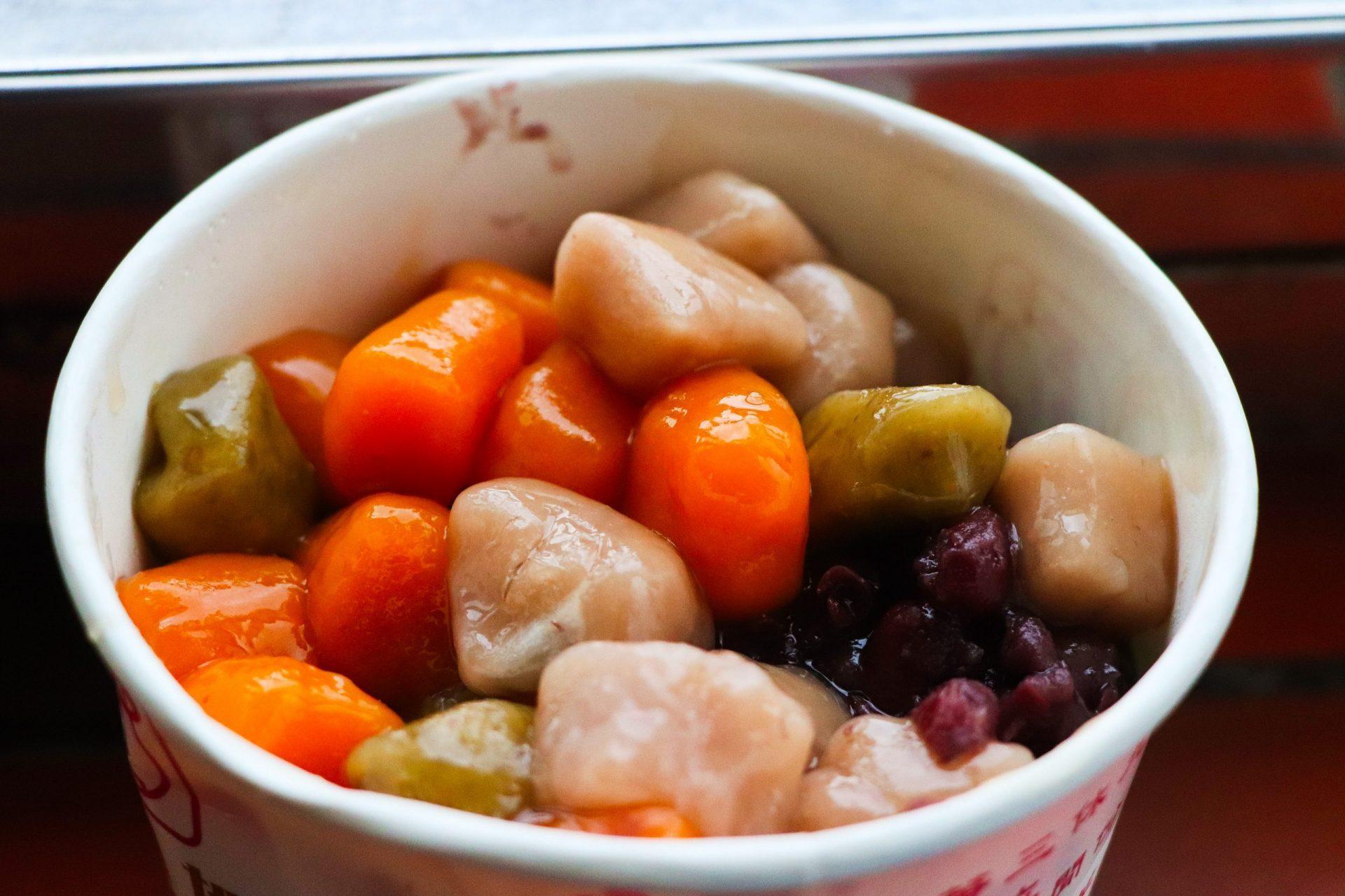 阿柑姨芋圓-配料有紅豆、大紅豆、綠豆